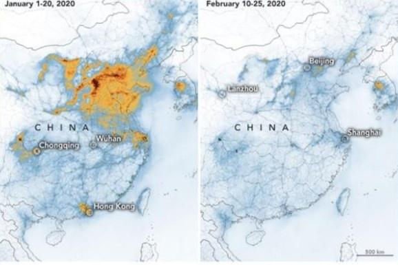Ảnh vệ tinh về dịch Covid-19 khiến ô nhiễm ở Trung Quốc giảm mạnh