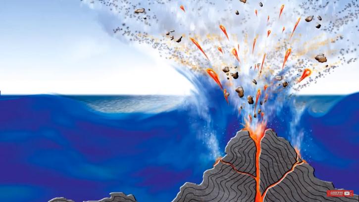 Ảnh vệ tinh trên biển phát hiện hòn đảo mới sau khi núi lửa phun trào