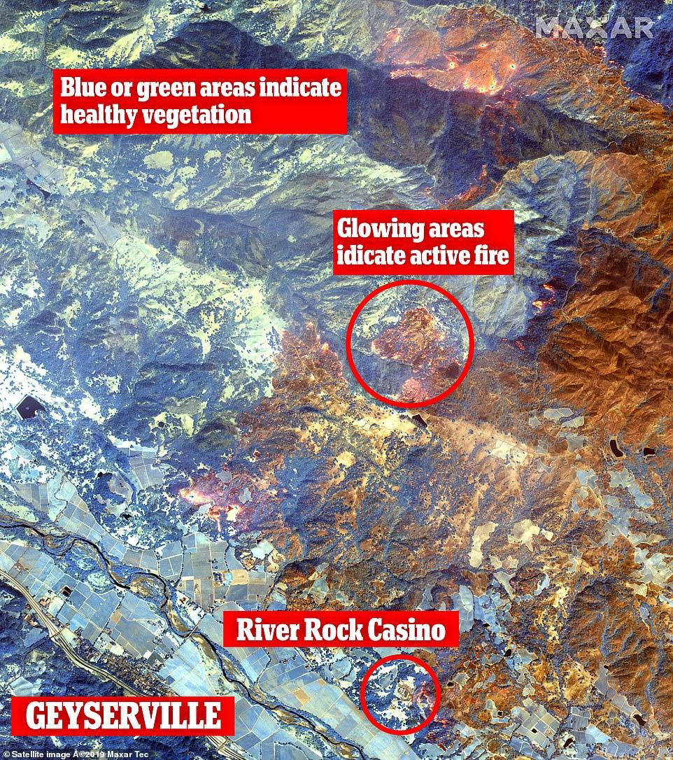 Ảnh vệ tinh WorldView-3 ghi hình California bị xe toạc trong biển lửa