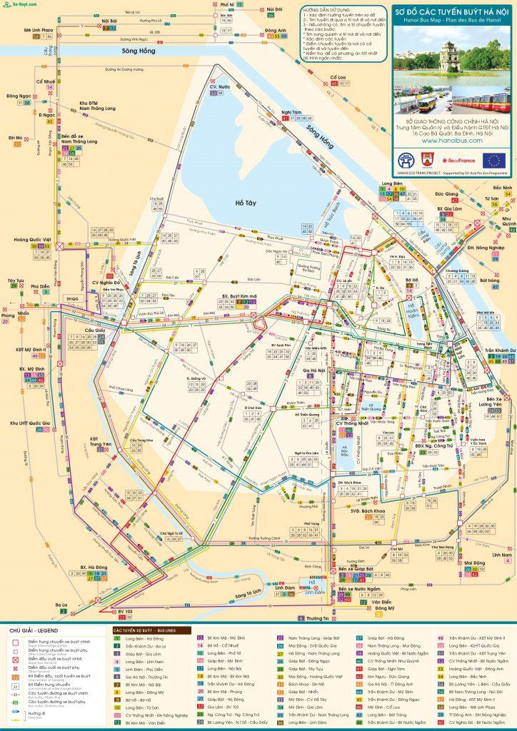 Danh sách bản đồ các tuyến xe bus tại thành phố Hà Nội