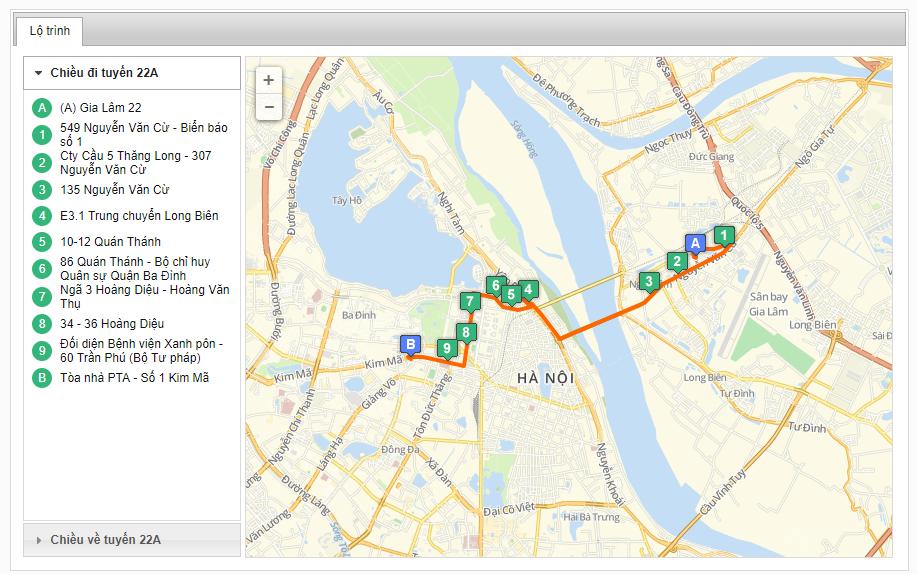 Bản đồ danh sách các tuyến xe bus xuất phát từ bến xe Gia Lâm