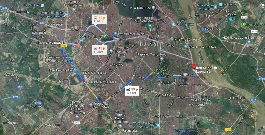 Bản đồ danh sách các tuyến xe bus xuất phát từ bến xe Lương Yên
