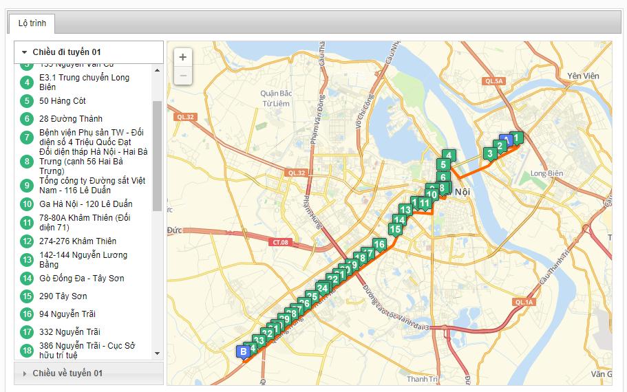 Bản đồ danh sách các tuyến xe bus xuất phát từ bến xe Yên Nghĩa