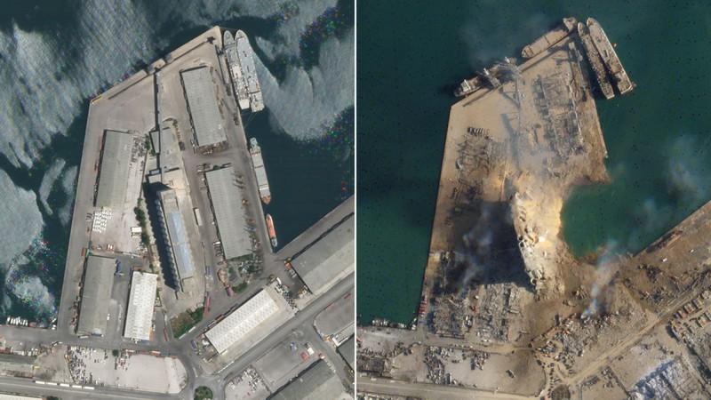 Ảnh vệ tinh chụp cảng Beirut (Lebanon) trước và sau vụ nổ thảm khốc