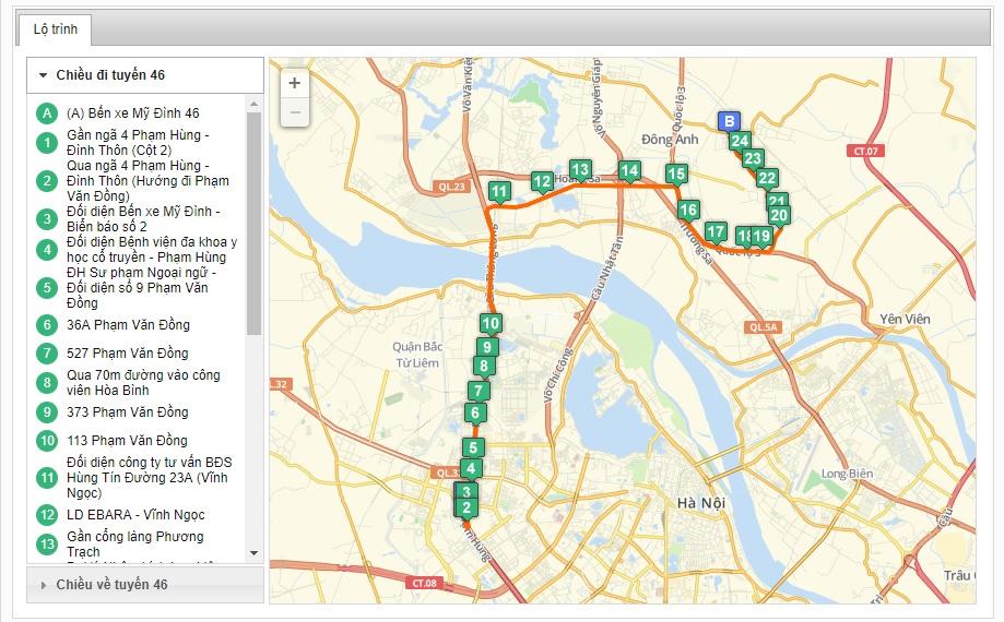 Bản đồ danh sách các tuyến xe bus xuất phát từ bến xe Mỹ Đình