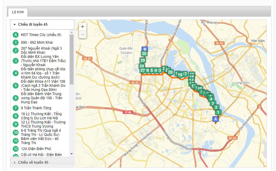 Bản đồ danh sách tuyến xe buýt từ bến xe Nam Thăng Long